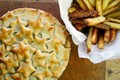 Chestnut, mushroom and ale pie with homemade oven chips
