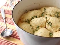 """Chicken & dumplings (stewed chicken with thyme crème fraiche """"dumplins"""")"""