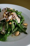 Chicken, almond and asparagus salad