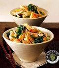 Chicken and purple broccoli stir-fry with wholewheat spaghetti