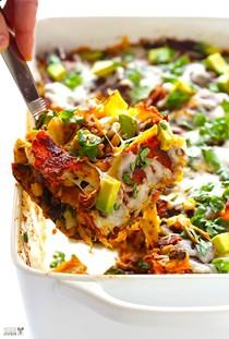 """Chicken enchilada casserole (a.k.a. """"Stacked"""" chicken enchiladas)"""