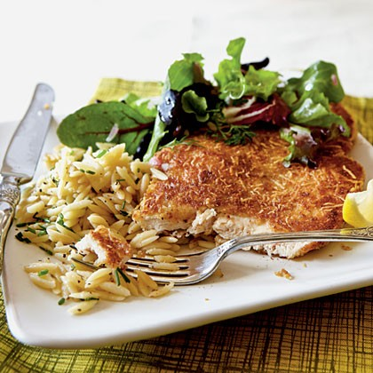 Chicken Milanese with spring greens (page 104)