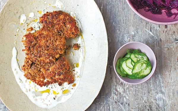 Chicken rye schnitzel