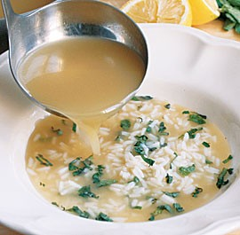 Chicken soup with rice, lemon & mint (Portuguese canja) (page 28)