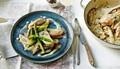 Chicken with asparagus and lemon crème fraîche sauce