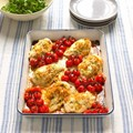 Chicken with pesto, Taleggio and roasted tomatoes