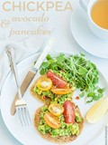 Chickpea pancakes with avocado, tomato and watercress