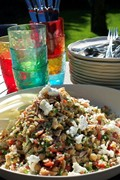 Chickpea salad with quinoa, almonds and goats cheese