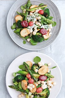 Chickpeas, grilled broccoli and asparagus with popped chilli grapes and bagel croutons