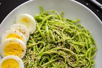 Chili spinach pesto noodle bowl