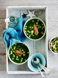 Chilled cucumber and prawn soup with crisp prawn heads