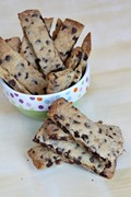 Chocolate chip-toffee strip cookies