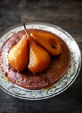 Chocolate financier with caramel tea-poached pears