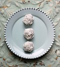Chocolate macadamia truffles with coconut