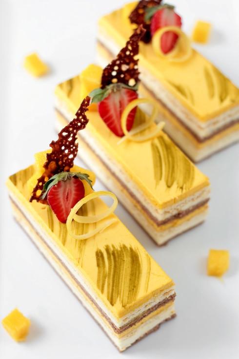 Chocolate-mango and coconut cream cake
