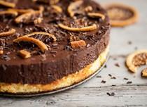 Chocolate orange pudding with orange crisps