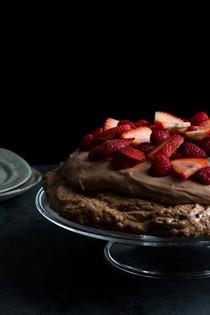Chocolate Pavlova with chocolate mousse