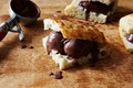 Chocolate sorbet and focaccia ice cream sandwiches