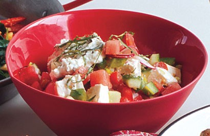 Chopped Vegetable, Watermelon And Feta Salad Recipe — Dishmaps