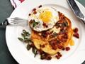 Chorizo and halloumi pancakes with fried eggs