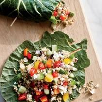 Collard green-quinoa wraps