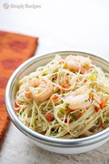 Confetti shrimp with angel hair pasta
