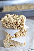 Cookie butter and white chocolate Cheerios marshmallow treats