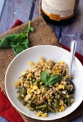 Corn, asparagus, and basil barley risotto
