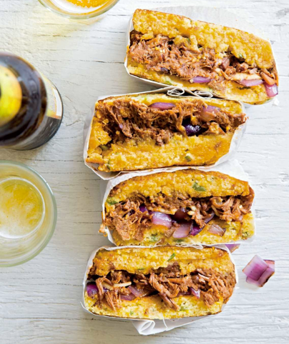 Corn bread brisket sandwiches