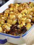 Cottage pie with crushed potato topping