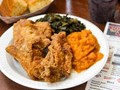 Country pan fried chicken and candied yams