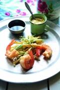 Courgette and prawn tempura with chiba and ponzu joyu