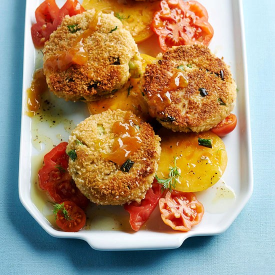 Crab cakes with apricot sauce (page 128)