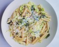 Creamed Savoy cabbage with mushrooms and buckwheat pasta