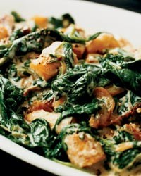 ... With Spinach, Chevre, Smoked Ham &Smoky Roasted Red Pepper Sauce
