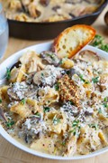 Creamy Asiago chicken and mushroom tortellini soup