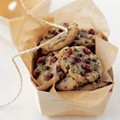 Crisp chocolate chip cookies with dried cherries and pistachios