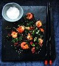 Crispy cavolo nero with chilli, toasted sesame and spring onions