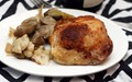 Crispy chicken thighs with cauliflower, artichoke and olives