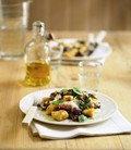 Crispy gnocchi with olives and sun-dried tomatoes