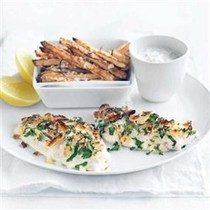 Crispy lemon fish with yogurt tartare