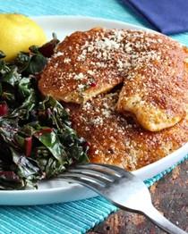 Crispy paprika-Parmesan fish fillets with sautéed chard