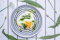 Crispy Parmesan eggs with wild garlic pesto