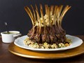 Crown roast of lamb with couscous stuffing and pistachio-mint sauce