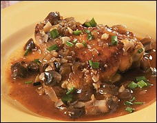 Crusty chicken thighs with mushroom sauce