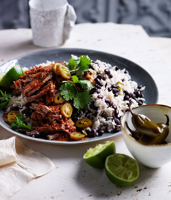 Cuban black beans and rice with pulled beef (page 124)