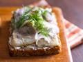 Danish open-faced sandwich (Pickled herring smørrebrød)