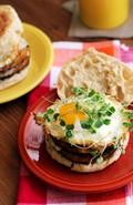 Double decker chile rellenos breakfast burgers