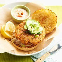 Double-play salmon burgers