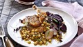Duck breast, beetroot and chickpea salad, scorched lemon vinaigrette